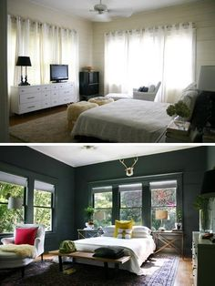 before and after bedroom, white walls are just ok, but the pine green really claims it! Green Gray Bedroom on Apartment Therapy