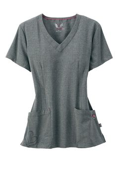 Smitten v-neck logo pocket scrub top in Heather Grey - how cute is the heart pocket detailing? | Scrubs & Beyond
