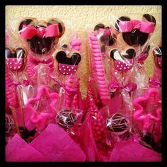 Minnie Mouse Centros de Mesa !! Galletitas decoradas, cupcakes, paletas de caramelo