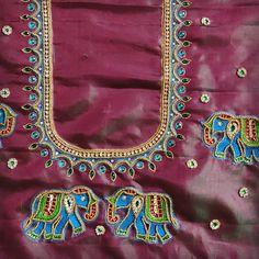 Peacock Blouse Designs, Peacock Embroidery Designs, Best Blouse Designs, Wedding Saree Blouse Designs, Simple Blouse Designs, Simple Designs, Mirror Work Kurti Design, Mirror Work Blouse, Hand Work Blouse Design