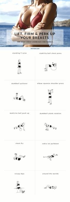 Try these 10 chest exercises for women to give your bust line a lift and make your breasts appear bigger and perkier, the natural way! / To do Body Fitness Workouts, Fitness Diet, At Home Workouts, Health Fitness, Fitness Band, Bike Workouts, Fitness Hacks, Swimming Workouts, Swimming Tips