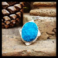 """Blue Drusy Druzy set in Sterling Silver casing, on a 30"""" Silver Chain. $29  Free shipping and handling"""