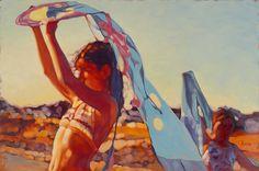 "Following Mia, 24"" X 36"", oil on canvas, original art available, Mark Heine, figurative painter"
