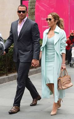 New York Moment from Jennifer Lopez and Alex Rodriguez: Romance Rewind Lopez and Rodriguez held hand as they made their way through Rockefeller Center in April Business Outfits, Office Outfits, Chic Outfits, Summer Outfits, Classy Couple, Stylish Couple, J Lo Fashion, Womens Fashion, Jennifer Lopez Outfits