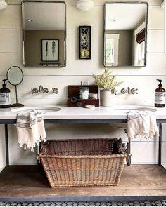 Double vanity with modern farmhouse bathroom design