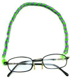 Correa para lentes con ligas de colores / Verde / Tejido con ligas Loom Bands, Rainbow Loom, Diy Crafts, Beads, Glasses, Ideas Para, Jazz, Disney, Bracelets