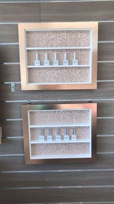 Rose gold chic nail polish framed shelves Bang on trend put new style rose gold will add style & contemporary glamour to your walls Home Beauty Salon, Home Nail Salon, Nail Salon Design, Hair Salon Interior, Nail Salon Decor, Beauty Salon Decor, Salon Interior Design, Beauty Salon Design, Salon Nails