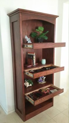 Excellent idea for usage of wasted space among bookshelves in a bookcase