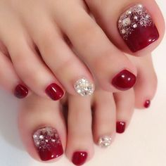 Pedicure Ideas Red Toenails Summer Ideas For 2019 Pretty Toe Nails, Cute Toe Nails, Gorgeous Nails, Pretty Toes, Pedicure Nail Art, Toe Nail Art, Acrylic Nails, Nail Nail, Xmas Nails