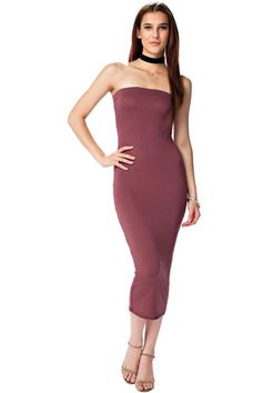 aef15467378e The mystylemode maroon double lined strapless midi dress
