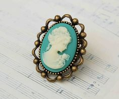 Emma CAMEO RING Antique Style Filigree Ring Aqua Turquoise Cocktail Adjustable