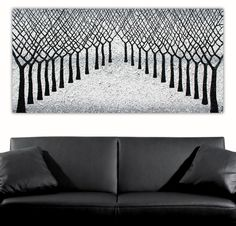 New - Winter Snow Trees textural painting, 153cm x 76cm. Inspired by my love of nature and trees. This is a version of my first snow related painting but centralised. The trees are all textured on a textural snow background. With a path of trees showing nice depth. Silver metallics to show that cool winter feeling. https://bluethumb.com.au/cmirandalloyd