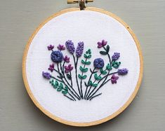Botanical Embroidery Hoop Art, Floral Wall Hanging, Hand Stitched, Embroidered Gift, Purple Flowers, Modern Embroidery