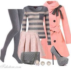 Grey tights, sweater, pink trench coat, skirt, handbag and grey high heels Cute Fashion, Look Fashion, Teen Fashion, Winter Fashion, Fashion Outfits, Womens Fashion, Fashion Beauty, Sweaters And Leggings, Grey Leggings
