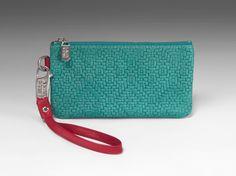 Laudi Vidni Alto Wristlet in Italian Woven Turquoise and Soft Grain Lipstick