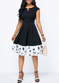 Black Dresses Printed Split Neck Cap Sleeve A Line Dress Dress Outfits, Casual Dresses, Fashion Outfits, Dresses Dresses, A Line Dresses, Cheap Dresses, Fashion Women, High Fashion, African Fashion Dresses