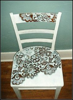 Refurbished old chair. Could decoupage scrap book paper onto it!!!