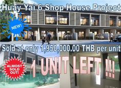 Pattaya Town House for sale: Huay Yai, 2 km to Sukhumvit, 50 m from main road, near  supermarket and all important tourist attractions, 7 town houses built in 1 line, brand new, space for private car park, all sold, 1 unit left,  only 1,950,000.00 THB, transfer tax split 50/50, call 0800176100 or look at: http://houseforsalethailand.net/huay-yai-7-shop-house-project/