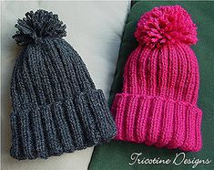 A kids hat - one skein, quick and easy project - 3 or 4 hours while watching TV for each hat, pompom non included - knitted all in the round - no seaming! Knitted Hats Kids, Knitting For Kids, Kids Hats, Baby Knitting Patterns, Knitting Yarn, Free Knitting, Crochet Patterns, Hat Patterns, Kids Winter Hats