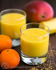 Tropical Mango Pineapple Smoothie Recipe. A little taste of Maui @NatashasKitchen #Healthy Eating Solutions.