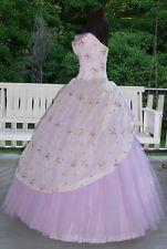 1950s Strapless Lavender Tulle w Chiffon  Evening Dress