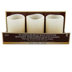 Flameless Real Wax Votives, Vanilla