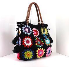Crochet granny squares handbag with tassels and genuine leather handles,  shopper bag, crochet tote, fashion summer handbag 2014
