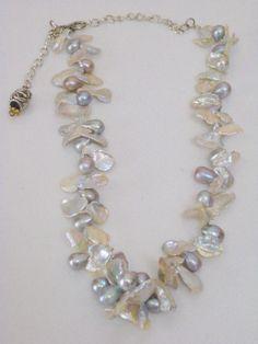Keshi Pearl Necklace Keshi Pearls Teardrop by LynniesLuxuries