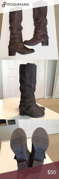 "Full Zip Tall Boots Excellent condition. Only worn a couple times. Very warm and comfortable boots, has about an inch and half heels. My feet size is 6 and the boots' size is 6. My height is 5'3"" Mossimo Supply Co. Shoes Heeled Boots"