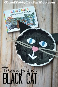 Paper Black Cat - Kid Craft Tissue Paper Black Cat reading response activity for Have You Seen My Cat by Eric Carle.Tissue Paper Black Cat reading response activity for Have You Seen My Cat by Eric Carle. Daycare Crafts, Cat Crafts, Animal Crafts, Book Crafts, Halloween Crafts, Halloween Week, Toddler Art, Toddler Crafts, Crafts For Kids