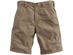 Carhartt's Canvas Work Shorts are made from lightweight yet durable, 7.5 ounce, 100% ring-spun cotton canvas that will last though tough wear and long workdays. They sit slightly above the waist for a comfortable fit. A hammer loop and ruler pocket, left-leg, and utility band and tool pocket, right-leg, keep items close at hand. Stronger sewn-on-seam belt loops add durability over time to help keep your shorts up. FeaturesLightweight yet durable cotton canvasStronger sewn-on-seam belt… Workwear Store, Work Shorts, Men's Shorts, Kids Shorts, Dark Khaki, Cotton Lights, Short Outfits, Men's Outfits, Carhartt