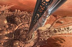 The launch pad of this space lift captures my idea of a futuristic space lift and gives me the a good understanding of where it would start from. Space Colony, Sunken City, Spaceship Design, Environment Concept Art, Science Fiction Art, Futuristic Architecture, Deep Space, Space Travel, Future City