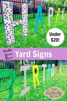 Diy Birthday Sign, Happy Birthday Yard Signs, Birthday Letters, 8th Birthday, Birthday Ideas, Outside Birthday, Graduation Yard Signs, Graduation Decorations, Outdoor Birthday Decorations