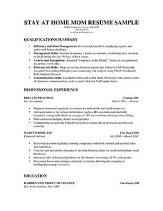 Stay At Home Mom Resume Sample Experienced (