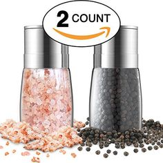 Salt and Pepper Grinder Set - Premium Stainless Steel Manual Mills - Adjustable Coarseness, Brushed & Elegant - Best Glass Shakers, Containers and Dispenser - Refillable Holder & Organizer Combo Gift - http://spicegrinder.biz/salt-and-pepper-grinder-set-premium-stainless-steel-manual-mills-adjustable-coarseness-brushed-elegant-best-glass-shakers-containers-and-dispenser-refillable-holder-organizer-com/