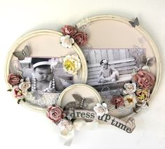 Dress Up Time altered embroidery hoop decor. ***Swirlydoos May Kit - Scrapbook.com (created by Mammatiffy) Wendy Schultz onto Home Decor
