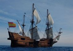 The Galeon Andalucia is a replica of the century Galleon that has arrived… Ocean Sailing, Old Sailing Ships, Spanish Galleon, Man Of War, Wooden Ship, Yacht Boat, Navy Ships, Model Ships, Titanic