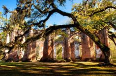 Old Sheldon Church Ruins in Yemassee, South Carolina.  The church, formerly known as the Prince William Parish Church, was built in 1745-1755, burned by the British Army in 1779, rebuilt, and burned again by the Federal Army in 1865.