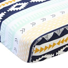 aztec tribal crib sheet in mint navy peach and gold