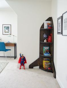 Rocket ship corner bookcase (two layered stains got this finish - click through for info)