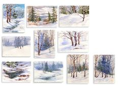 Winter Landscape Greeting Cards - Holiday Cards in Watercolor Pg1