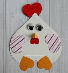 Hoe je deze gezellige kip van hartjes (en ook nog andere dieren) kunt knutselen staat op mijn blog Homemade by Joke. Leuk voor met Pasen.