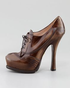 Prada Spazzolato Lace-Up Pump - Neiman Marcus.  omg. i think these are to die for.  to die for.