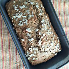 Whole Wheat Oatmeal Banana Bread~a nutritious breakfast or anytime snack! {And nutritional comparison of oats included}