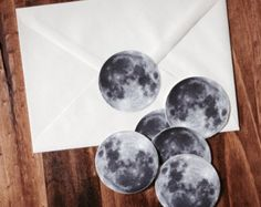 Full Moon Sticker Set - Set of 6 Vinyl 2 Inch Stickers - Lunar Stationary - Bumper Stickers