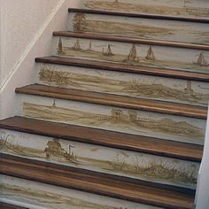 A local artist painted sepia-tone island scenes on stair risers.