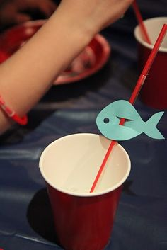 fish straw....cute for birthday party... Only make em the color orange too looook like nemo