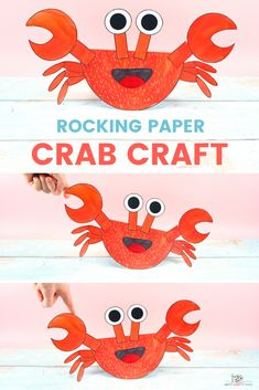 Learn how to make the Rocking Paper Crab Craft with our step-by-step tutorial! Summer is the perfect time for kids to make crab crafts. Our playful paper crab, is super fun and easy, combining both learning and creativity. Art And Craft Videos, Easy Arts And Crafts, Crafts For Kids To Make, Crab Crafts, Bird Crafts, Classroom Crafts, Preschool Crafts, Under The Sea Crafts