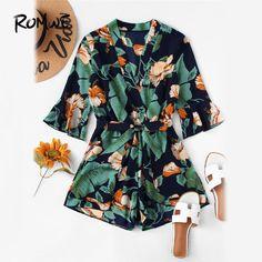 bb91383f106 Fluted Sleeve Floral Print Surplice Romper With Belt Women 2018 Summer  Vocation Three Quarter Floral V