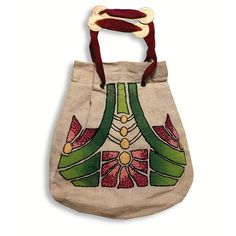 Arts & Crafts purse made from a stenciled kit. Embroidered geometric flowers on each side, ribbon and metal strap, pleated closure, x Vintage Purses, Vintage Handbags, Art Nouveau, Hat Holder, Rookwood Pottery, Embroidered Bag, Arts And Crafts Movement, Knitted Bags, Craftsman Style